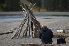 sketching on the beach reverse - Lake Yellowstone (Scene Here) Tags: park bridge lake sketch fishing drawing g sony full driftwood national frame wife yellowstone 28 draw 70200 ff a99