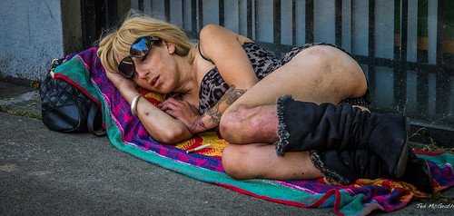 street sleeping portrait reflection girl face sunglasses tattoo vancouver hair nose nikon hand arm legs boots cigarette teeth homeless poor towel streetscene sidewalk reflected filter purse bracelet cropped vignetting handbag scabs fag vancouverbc dents crossedlegs buttock d600 onecigarette cityofvancouver vancouvercity innamoramento druguser simplysuperb tedsphotos nikonfx d600fx