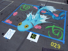 """Blue Fish swimming chalk art by Josh Owen • <a style=""""font-size:0.8em;"""" href=""""http://www.flickr.com/photos/34843984@N07/15545323182/"""" target=""""_blank"""">View on Flickr</a>"""