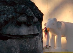 Afternoon with elephant - Thailand (ashabot) Tags: travel sculpture thailand seasia afternoon shadows stonework statues peaceful tranquility temples chiangmai elephants wat lightanddark afternoonlight antiquities shadowsandlight templeguardians templeguards