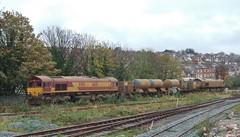 66110 & 66093 at Barry. 11/11/14 (Nick Wilcock) Tags: wales barry railways valeofglamorgan dbs margam class66 ews 66093 rhtt 66110 dbschenker 3s61