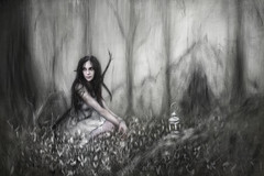 Lantern by the Cavern (Justin Gedak Illustrations) Tags: flowers portrait woman texture nature girl beautiful lady female forest woodland dark outside outdoors woods pretty moody longhair thoughtful surreal medieval dirty digitalpainting fantasy weapon figure sword mysterious warrior cave resting lantern kneeling mutedcolors cavern wacom figurative crouching corelpainter brushstrokes whitedress medeivalfantasy jeremygriever