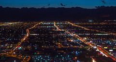 Vegas Nights (jrodmanjr) Tags: redrockcanyon city longexposure vegas urban mountains streets night lights traffic lasvegas streetlights sony suburbs bluehour metropolitan pointshoot lighttrail landscope