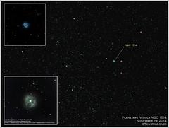 Planetary Nebula NGC 1514 (The Dark Side Observatory) Tags: november sky canon stars timelapse space explosion shell nebula astrophotography astronomy nightsky taurus cosmos constellation cosmology exploding astronomer 2014 400mm deepsky planetarynebula canon6d astrometrydotnet:status=solved ioptron tomwildoner zeq25gt astrometrydotnet:id=nova890488