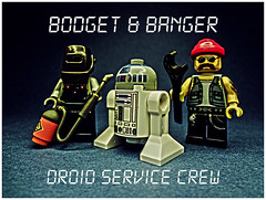 Bodget & Banger- Droid Service Crew (tim constable) Tags: cowboys computer robot team humorous lego lol joke garage it humour crew repair r2d2 service biker technician rough funnypics minifigs bang helpdesk mechanic useless droid hellsangel bodge spanners subtle welder wasteofmoney wasteoftime minifigures untrained incapable unscrupulous unsavoury timconstable