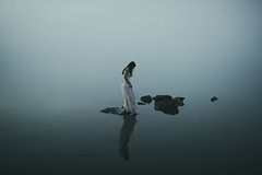 (Alessio Albi) Tags: portrait woman lake water fog dark mood atmosphere
