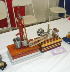 Little Angel, Tim Horn's Display, WEME Show, Pleasanton CA, 2014 (Miniature Engineering Museum) Tags: miniature engineering museum collection small model engine v 1 2 3 4 5 6 7 8 9 10 12 one two three four five six seven eight nine ten twelve cylinder jet airplane aircraft radial rotary inline opposed automobile car race boat hydro speed single dual over flat head cam valve gas flash steam stirling oil spark plug rimfire tether rc radio control precision machined machining prototype engineer craftsmanship builder craftsman display exhibit exhibition airport