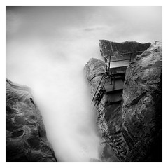 Step Into The Abyss (picturedevon.co.uk) Tags: longexposure bw seascape photography coast blackwhite rocks waves steps le walkway exmouth devonshire nisi clifftop eastdevon 10stop wwwpicturedevoncouk createdbydavidhixon