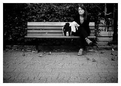"""the look..."" (iEagle2) Tags: blackandwhite blackwhite bw ep2 female frau femme olympusep2 olympuspen streetphotography sweden summer trollhttan woman birds"