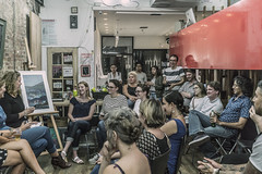 The Con Artist Collective Meural Artist Panel Discussion September 21, 2016 (nrhodesphotos(the_eye_of_the_moment)) Tags: dsc07970300 theeyeofthemoment21gmailcom wwwflickrcomphotostheeyeofthemoment meural theconartistcollective les ludlowst symposium artists panel discussion show arttech candid portrait indoors event audience men women people