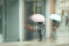 A Muted Morning Stroll (Gary Grout Photography) Tags: rain umbrella girls street impressionism muted softfocus pink blue dreamy