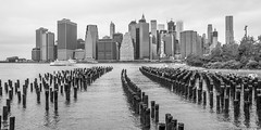 Manhattan Skyline - New York (hjuengst) Tags: new york manhattan skyline skyscraper blackandwhite panorama water eastriver usa