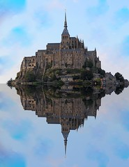 Mont St Michel - In Reflections (big_jeff_leo) Tags: stmichaelsmount montstmichel france castle rock coast abbey monk stone walls towers medieval normandy history heritage ancient old column gothic tidal estuary unesco island
