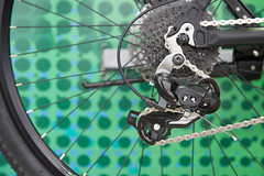 Gear mountain bike on the rear wheel. (leykladay) Tags: aluminum bike biking chains cogs gear mountain rear riding rotating spokes steel tires wheel wheels