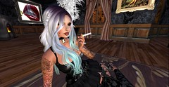 Quiet Contemplation... (Allie Carpathia) Tags: solo portrait indoors home prettylady smoking corset autumn secondlife beauty love witch