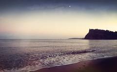 Luna (Bruus UK) Tags: moon teignmouth luna devon dusk sea shore coast ness water calm serene evening light sand beach headland horizon marine