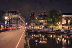Kloveniersburgwal, Amsterdam (tommyferraz) Tags: amsterdam night evening sunset canals grachten grachtengordel dutch architecture buildings light colors windows holland long exposure