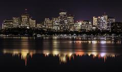 Boston skyline as seen from Cambridge (rayordanov) Tags: boston cambridge charlesriver reflection nightlights