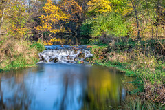 Wishing autumn would linger longer... (tquist24) Tags: bonneyvillemillcountypark hdr indiana nikon nikond5300 autumn fall geotagged longexposure nature park reflection reflections river tree trees water waterfall bristol unitedstates