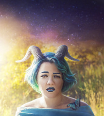 Blue (Robert Cornelius Photography) Tags: girl girls woman warm wings wing wacom fantasy floating fairytale fantastic female science fiction scifi saga comic colorful blue hair horn horns horned sky stars space bright rainbow butterfly