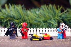A day at the races... (Frost Bricks) Tags: lego justice league batman flash superman race