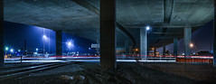 waiting on the train that never passed (pbo31) Tags: california nikon d810 color eastbay alamedacounty november 2016 fall boury pbo31 oakland downtown night dark black 880 highway overpass rail train panorama large stitched panoramic support lightstream laney college
