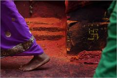 swastik, saundatti (nevil zaveri (thank you for 10 million+ views :)) Tags: zaveri people devotee india woman women karnataka yellamma saundatti temple photography photographer images photos blog stockimages photograph photographs nevil nevilzaveri stock photo saree pilgrims holy wall sign swastik feet floor
