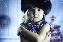 Winter is here... (salas-3) Tags: christmas tokina tokina100mf28 portrait girl cold snow light blue studio background nikon