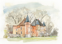 Château de Genoud, Certines, Ain, France (Linda Vanysacker - Van den Mooter) Tags: watercolour visiblytalented vanysacker vandenmooter tekening sketch schets potlood pencil lindavanysackervandenmooter lindavandenmooter drawing dessin croquis crayon art aquarelle aquarell aquarel akvarell acuarela acquerello kasteel château castle manoir frankrijk france châteaudegenoud certines ain genoud