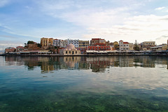Warm sunny winter day (john houv) Tags: chania crete mediterranean oldharbour oldharbor lighthouse reflection