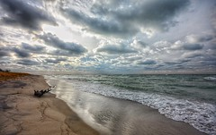 Break in the Clouds (mswan777) Tags: sunset evening lake michigan great lakes seascape landscape beach driftwood waves wind autumn nikon d5100 sigma 1020mm