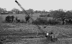 Abandoned Crane - Mono (wontolla1 (Septuagenarian)) Tags: bunbury beeston shropshire union canal post office box cheshire olympusmzuikodigitaled40150mmf4056 crane jib black white mono old wrecked wreck abandoned rusty