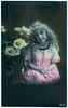 Girl With Flowers (pepandtim) Tags: postcard old early nostalgia nostalgic girl flowers bracelet ink oaklands crescent southwick sunderland marjorie santa claus house aunty beatrice stockings money orange apples banana 44gwf42