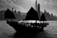 sunset sail - Victoria Harbour (samuel.w photography) Tags: samuelslphotography blackandwhite victoria harbourfront hongkong landscape sunset