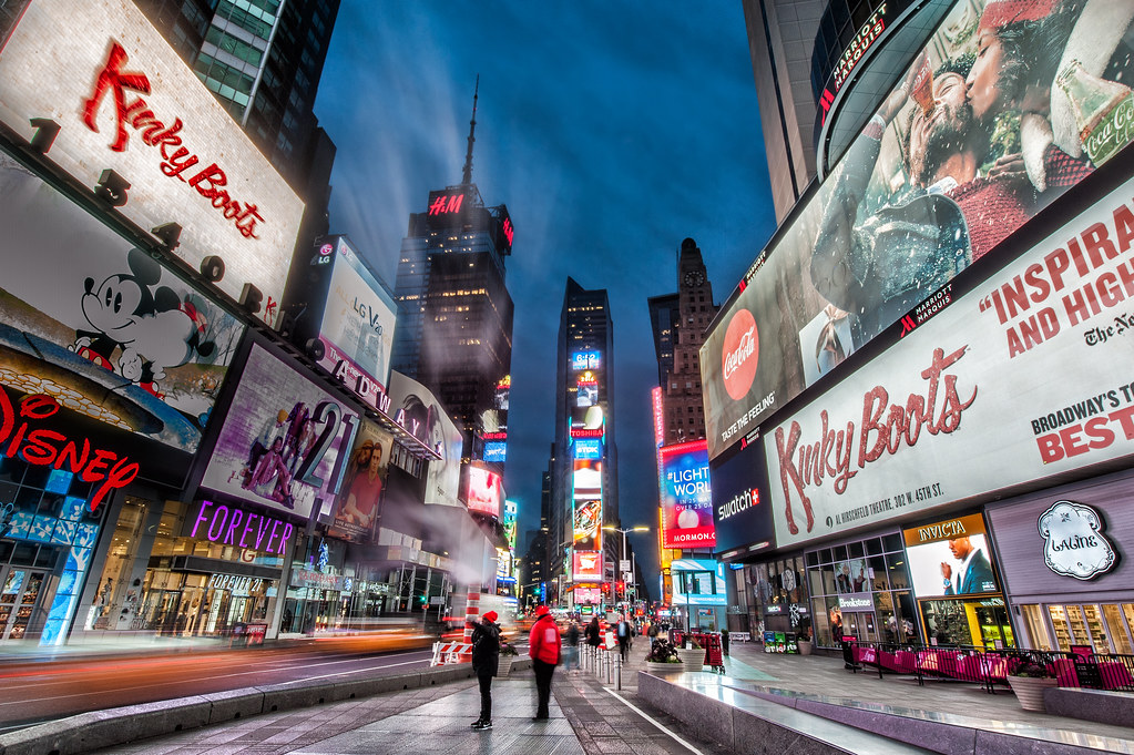 Times Square in New York City during the early morning hours.