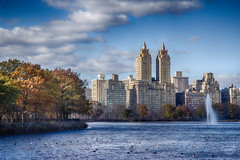Jacqueline Kennedy Onassis Reservoir (brianloganphoto) Tags: manhattan northamerica regions newyork centralpark lake christmas skyline trees theeldorado urban cloud day skycraper nyc newyorkcity landcape sky apartmentbuilding unitedstates historical landmark city us