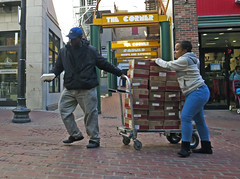 BostonAHelpingHand (fotosqrrl) Tags: boston massachusetts streetphotography urban winterstreet handtruck pulling helping