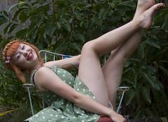 Kicks and Giggles (keskinenj) Tags: red cute feet nature girl smile smiling photography foot dress natural legs edited leg makeup redhead eugene redlipstick braids redhair milkmaid pinup sundress eugeneor eugeneoregon eyeliner braided redheadgirl milkmaidbraids