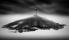 Nowhere (ilias varelas) Tags: longexposure light sky blackandwhite bw lighthouse mist black monochrome fog clouds canon landscape mono rocks mood greece ilias canonef1740mmf4l varelas canoneos6d