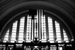 Stripes (Jane Inman Stormer) Tags: windows light ohio fall glass lines museum stars arch cincinnati stripes flag americanflag trainstation kiosk artdeco lamps curve atrium