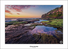 Colours (John_Armytage) Tags: seascape reflection clouds sunrise landscape dawn moss focus rocks textures northernbeaches bungan leefilters bunganbeach johnarmytage