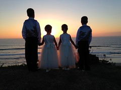 Brothers and Sisters (J K Johnson) Tags: ocean park family girls sunset color cute boys beautiful kids sisters fun evening interesting colorful waves mood glow pacific sandiego brothers dressedup dresses holdinghands vests holdhands jimjohnson jkjohnson