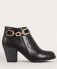 "chain strap chunky heel ankle bootie 100 black • <a style=""font-size:0.8em;"" href=""http://www.flickr.com/photos/64360322@N06/15372889318/"" target=""_blank"">View on Flickr</a>"
