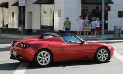Tesla Roadster (SPV Automotive) Tags: red sports car electric convertible exotic tesla roadster