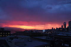 Downtown Seattle stormy sunset