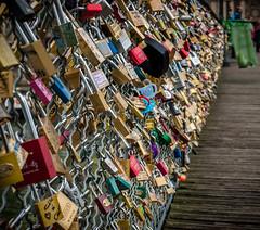 Parisian Bridge Love Locks (zeeaux) Tags: california travel bridge italy paris france europe bridges kitlens noto olympus sicily fourthirds lovelocks olympuse510 olympuszuiko1442mmf3556 bridgelocks