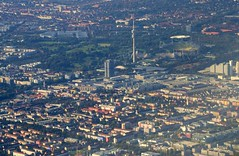Munich - aerial view (cnmark) Tags: germany munich mnchen bayern deutschland bavaria view stadium aerial fernsehturm olympic tvtower olympiastadion luftaufnahme allrightsreserved vierzylinder