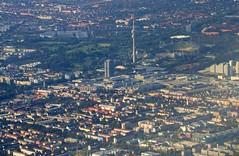 Munich - aerial view (cnmark) Tags: germany munich münchen bayern deutschland bavaria view stadium aerial fernsehturm olympic tvtower olympiastadion luftaufnahme ©allrightsreserved vierzylinder