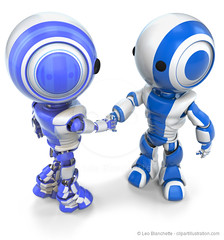 Two Robots Shaking Hands (clipartillustration) Tags: blue robot 3d team hands technology friendship render character unity mascot plastic glossy robotics partnership futuristic shaking gripping acceptance agreement