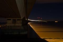 Under the bridge (mikeplonk) Tags: longexposure nightphotography bridge england water southwales night dark lights evening twilight lowlight nikon dusk m4 startrails severnbridge lighttrail secondseverncrossing arcturus d5100 18140mm